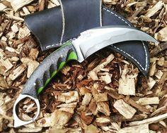 "CS:GO style kerambit W2 steel.  Hand forged 4"" blade Carbon fiber over green G10 handle Available $300  You can watch me live  Twitch.tv/wickedbowie  #fowlerblades #handmade #handforged #hamon #bladesmith #knifemaker #customknives #customknife #knives #knife #knivesdaily #knivesofinstagram #madeinusa #usnstagram #harrypotterhand #jerzeedevil #Blade2016 #damascus #twitch #twitchtv #twitchcreative #twitchcreates #csgo  www.FowlerBlades.com"