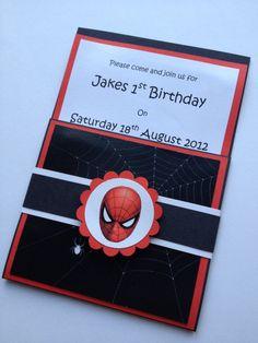 Handmade Spiderman Party Invitations Envelopes Set of via Etsy. Spiderman Cards, Spiderman Theme, Handmade Invitation Cards, Party Invitations, 6th Birthday Parties, Birthday Cards, Birthday Ideas, 3rd Birthday, Spiderman Birthday Invitations