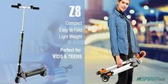 Airwheel Z8 mini electric scooter is compact easy to fold lightweight. Perfect for kids & teens.