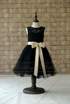 Black Lace Tulle Flower Girl Dress With by Weddingcollection