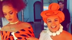 Meet the Flintstones! Rihanna made a great Pebbles as she posed with her best friend Jennifer Rosales, a.k.a. Wilma Flintstone, at the caveman-themed first birthday party for her cousin Noella Alstrom's daughter Majesty.