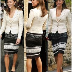 23 year old Kate in 2005 at the wedding of Hugh van Cutsem and Rose Astor - the future parents of Kate's famously unimpressed flower girl Grace. Kate wore a cream blazer with a Karen Millen skirt.