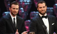 henry+cavill+and+chris+evans | Two beards … Chris Evans and Henry Cavill at the Baftas. Photograph ...