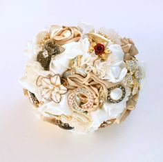 Vintage gold and ivory Fabric and Brooch Bouquet by Florio Designs