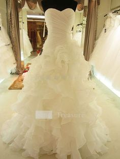 Ivory Cascading Ruffle Court Train Satin Organza Corset-back Sweetheart Wedding Dress  $183.99
