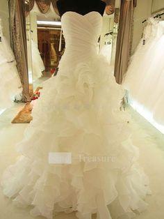 Ivory Cascading Ruffle Court Train Satin Organza Corset-back Sweetheart Wedding Dress  $183.99