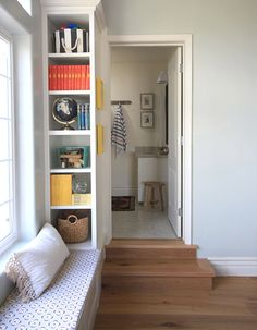 window seat with built-ins (facing in towards the seat instead of out)