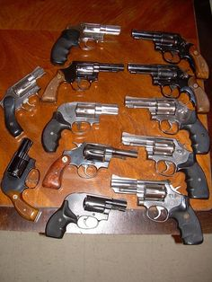 Revolvers, Colt and Smith & Wesson.