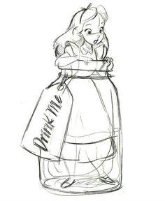 """Drink Me"" Alice in Wonderland Ornament Disney Sketches, Disney Drawings, Cartoon Drawings, Cartoon Art, Pencil Art Drawings, Art Drawings Sketches, Easy Drawings, Arte Disney, Disney Art"