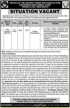 District Director Agriculture Bannu Board D.I Khan KPK Jobs 2021