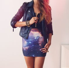 Leather jacket, galaxy skirt l wantering.com