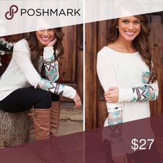 """🔹 Winter Wonderland 🔹 A gorgeous  knit long sleeve top featuring an Aztec print. Largely popular in my boutique and I'm happy to offer this to poshers as well  now! Large Bust = 19"""" XL Bust 20"""" Tops Blouses"""