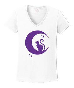 White & Purple Cat Moon V-Neck Tee - Plus #zulily #zulilyfinds