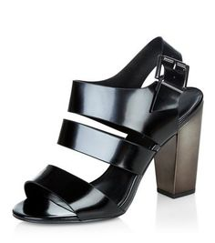 Wide Fit Black Contrast Sling Back Block Heels