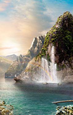 Amazing Nature, Waterfalls, Editor, Buddha, Scenery, Beach, Places, Painting, Outdoor