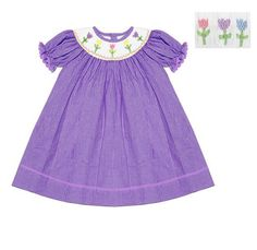 Girls Lavender  Float Dress with Pastel Tulips Smocking, only $39.99!
