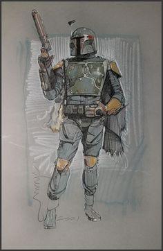 Boba Fett Art, Star Wars Boba Fett, Star Wars Comics, Star Wars Art, Star Trek, Color Pencil Sketch, Design Comics, Star Wars Images, Fantasy Fiction