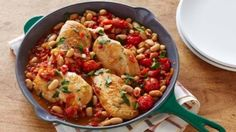 Look at this recipe - One-Pot Pan Seared Chicken Breasts with Cherry Tomatoes and White Beans - from Bobby Deen and other tasty dishes on Food Network.