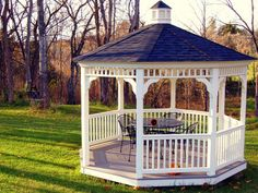 Some people call them pavilions. Others refer to them as belvederes. Whatever you call it, this is a classic octagonal gazebo -- an ornamental structure open on all sides with a covered roof  designed to provide shade, shelter and a place to rest.  Photo by Taber Andrew Bain.