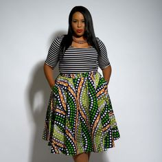 Ivie African Print Midi Circle Skirt (Green/White/Orange)