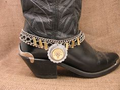 Ladies Accessories - Boot Candy - Bullet Jewelry - 12 Gauge Shotgun Casing Concho Medallion Multi-Chain Boot Bracelet - Boot Bling by thekeyofa on Etsy https://www.etsy.com/listing/257304245/ladies-accessories-boot-candy-bullet