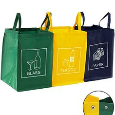 3er Set Mülltrennsystem Abfalltrennsystem für Glas, Plastik und Papier Recycling Station, Recycling Center, Plastik Recycling, Trash Bins, Shopping Stores, Paper Shopping Bag, Reusable Tote Bags, Plastic, Glass