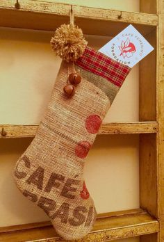 Burlap Christmas Stocking/Coffee Lover Gift/Burlap Gift Bag/Upcycled Coffee Sack Home Decor/Gift for Him/Personalized Gift/Farmhouse Chic by MagnaniHoldingCo on Etsy Burlap Coffee Bags, Burlap Gift Bags, Burlap Sacks, Christmas Booth, Christmas Bags, Christmas Decorations, Christmas Coffee, Christmas Ornaments, Coffee Bean Sacks