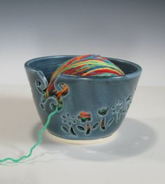 Ceramic Yarn Bowl Knitting Crochet Bowl Knitting by GlyntPottery, $38.00