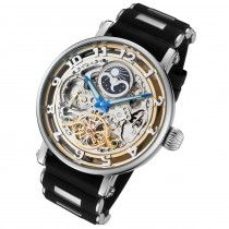 Dual time and moon phase skeleton watch. #skeletonwatchshop #skeletonwatches #rougoiswatches #menswatches