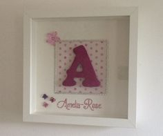 Personalised Box Framed Wooden Letter Initial by Poppypompon