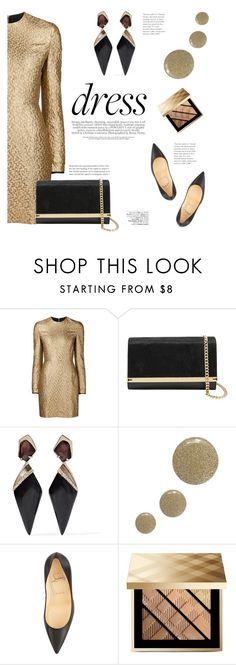 """""""Long-Sleeve Dress"""" by katsin90 ❤ liked on Polyvore featuring Creatures of the Wind, Ted Baker, Alexis Bittar, Topshop, Christian Louboutin, Avenue and Burberry"""
