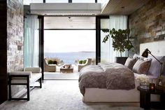 Contemporary bedroom with rich textured walls and a seaside view. Study Room Decor, Decor Room, Bedroom Decor, Master Bedroom, Vintage Home Decor, Rustic Decor, Interior Architecture, Interior Design, House Plants Decor