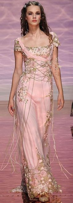 Oh! I love this asymmetric pink, full-length dress with the gold embellishments!!!