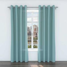 Belle Maison Zane 84-Inch Grommet Top Window Curtain Panels in Teal