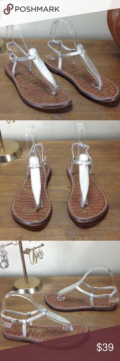 Sam Edelman Silver Leather Thong Sandals Metallic brushed silver thong sandals with cushioned insole and small silver buckle closure. In excellent condition with no visible spots or marks. Thanks for your interest!  Please checkout the rest of my closet. Sam Edelman Shoes Sandals