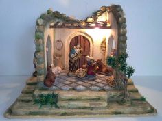 Portales Pesebres Para Nacimientos O Figuras De 15cm. - Bs. 30.000,00 en Mercado Libre Christmas Crafts, Merry Christmas, Diy Crib, Nativity, Miniatures, Painting, Beautiful, Daycares, Christmas Manger