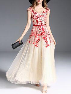 #AdoreWe #StyleWe Designer Maxi Dresses - Designer Oushiying Beaded Sleeveless Embroidered Elegant A-line Maxi Dress - AdoreWe.com