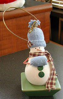 Light Bulb Snowman Ornament craft - Crafts by Amanda