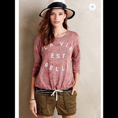 {Anthropologie} La Vie Sweatshirt by Sundry Super cute {Anthropologie} La Vie sweatshirt by Sundry. Mauve color with a drawstring waist. 38 cotton 50 polyester 12 rayon. Size 1 or Small. NWT, never worn. Anthropologie Tops Sweatshirts & Hoodies