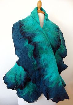 Hand felted scarf  nuno felt turquoise and by GabardineCouture, 85.00