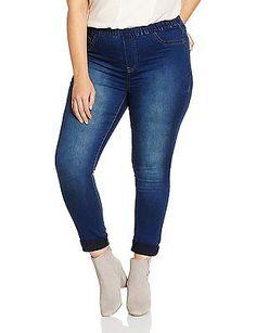W32/L30 (Manufacturer Size:UK 14), Blue (midwash), Evans Women's Denim Leggings