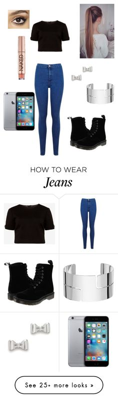 """""""Black crop top and blue jeans"""" by loveclothes11211 on Polyvore featuring Ted Baker, Miss Selfridge, Dr. Martens, Marc by Marc Jacobs, Dinh Van, Charlotte Tilbury, Urban Decay, women's clothing, women and female"""