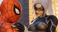 Spider-Man and Black Cat from Marvel's Spider-Man: Silver Lining for Black Cat Marvel, Spiderman Black Cat, Comics Spiderman, Black Cat Comics, Spiderman Movie, Spiderman Spider, Amazing Spiderman, Hq Marvel, Marvel Venom