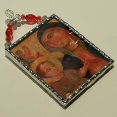Ancient art of the Madonna and Child Christmas ornament with a crystal hanger soldered in iridescent water glass by SacredArtwork on Etsy