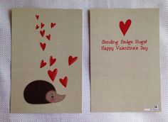 Sending Hedge Hugs -Cute Valentine Card and Envelope on Etsy, $4.00