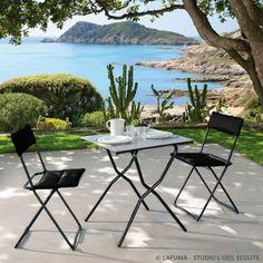 Salon de jardin pliant 4 places aluminium : 1 table + 4 fauteuils ...