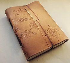 Leather journal - kožený zápisník A5 / mapa Slovenska a slovenských hradov / pyrography / map / bookbinding / leather work / handmade / Slovakia / travel journal