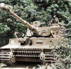 "SS-Unterscharführer Kurt Kleber in his Panzer VI ""Tiger I"" (Nº 232) of 1. SS-Pz. Korps ""Leibstandarte Adolf Hitler"" (2. Kompanie der SS-Pz. Abt.101) France. June 1944. (Colourised by Royston Leonard..."