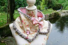♡cuello tela de flores y crochet