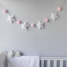 Star Garland With Honeycomb Pom Poms A cute baby room decoration of padded stars and pom poms.The pom poms are available in various colours: black,. Baby Bedroom, Baby Room Decor, Nursery Room, Nursery Decor, Nursery Grey, White Bedroom, Child's Room, Nursery Ideas, Star Garland